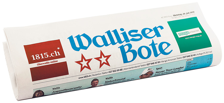 El primer periódico producido con Enterprise Aurora: Walliser Bote